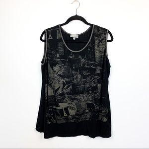 🌼2/$22🌼 Laura Black & Grey Patterned Ladies Tank